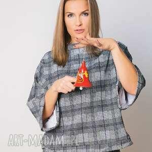 oryginalny prezent, trzyforu bluzka kimono krata, bluzy, spodnie, dresy, bluzki