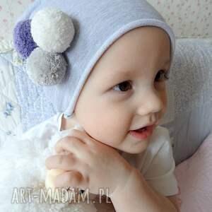 czapka z pomponami dla dziecka - czapka, czapki, dziecko, pompony, pompon, dzianina
