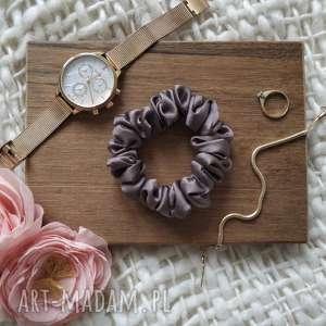 ręczne wykonanie ozdoby do włosów gumka jedwabna czekoladowa