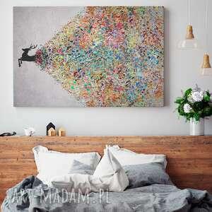 obraz na płótnie - jeleŃ kolory - 120x80 cm 49401 - jeleń, artystyczny