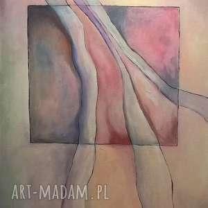 obraz na płótnie - harmonia w różach i fioletach 40/50 cm, abstrakcja, fiolet