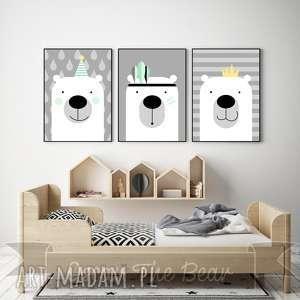 zestaw plakatÓw dla dzieci trzy urocze misie a4 - obrazek, plakat, misie, miś