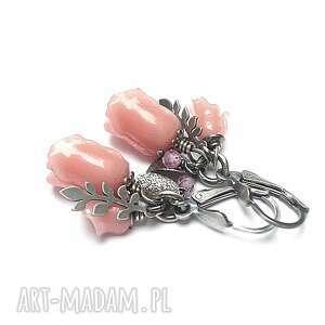 sweet roses vol 3 - kolczyki, srebro oksydowane, róże kalie, koral, cyrkonie