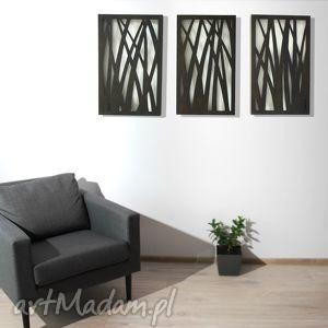 dekoracje drewniany tryptyk natura, przestrzenny - 3 x 61 38 cm,, natura