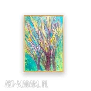 oprawiony rysunek z drzewami, drzewa obrazek w ramce, obraz drzewami