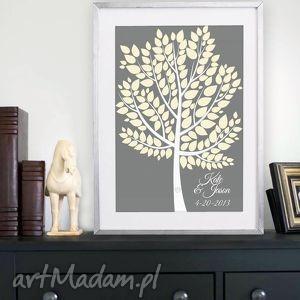 plakat drzewo wpisów gości weselnych w ramie - 40x50 cm, księga, gości