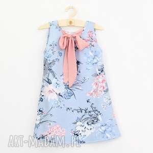 sukienka w kwiaty z kokarda szyfonu, kwiatowa, kokarda, trapezowa