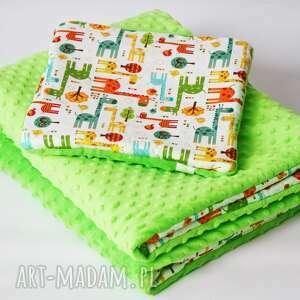 Zestaw niemowlaka ŻYRAFY zielony, kocyk, poduszka, podusia