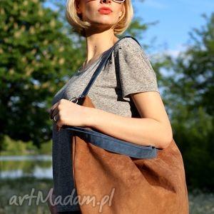 Brązowa torba z zamszu ekologicznego granatowymi rączkami, torba, torebka, zamszowa