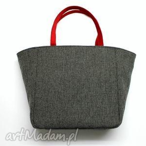 Prezent Shopper Bag Worek - tkanina dark grey i czerwony, elegancka, nowoczesna