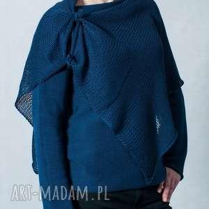 granatowy sweter z szalem, sweter-z-szalem, hermna, sweter, szal, granatowy, bawełna