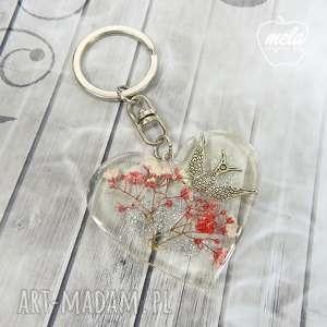 0750 mela brelok do kluczy, torebki serce, ptak, brelok, żywica