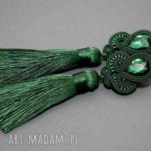 zielone kolczyki sutasz - szmaragdowe, ciemnozielone, sznurek, chwost, wiszące