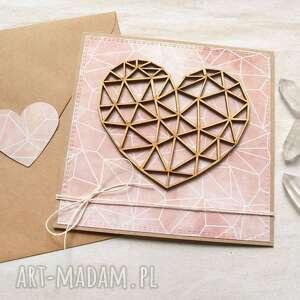 Kartka ślubna, miłosna - geometryczne serce kartki kaktusia ślub