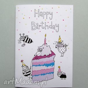 Prezent Happy Birthday kartka urodzinowa YUMMY , kartka, urodziny, prezent, tort