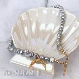 choker / bransoletka - szare perły, choker, bransoletka, naszyjnik, zawieszka
