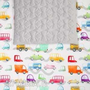 zestaw velvet cotton autka/szary, kocyk, poduszka, wózek, łóżeczko, autka