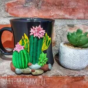 kubekzuzi nataliap kubek kaktusy, dekorowany ręcznie glinką polimerową