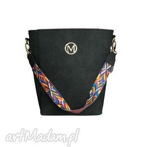 ręcznie wykonane torebki manzana duży kuferek zamszowy etno styl czarny