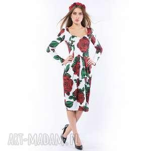 Królowa Róża - sukienka z dekoltem serce, dzianinowa, róże, dekolt, serce