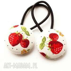 ozdoby do włosów gumki truskawki strawberry, gumki, kucyki, guziki