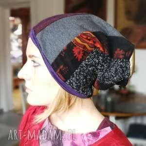 czapka patchworkowa damska etno - czapka, patchwork, etno, kolorowa, jesien, zima