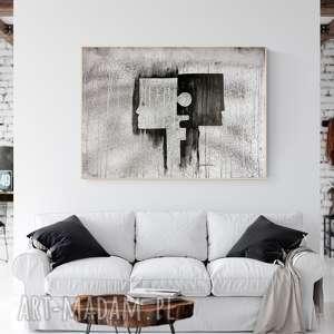 obraz 70 x 100 cm malowany recznie, plakat, abstrakcja, elegancki minimalizm, do salonu