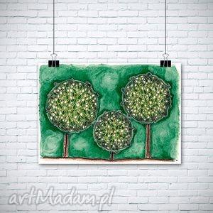 świąteczny prezent, pastelowe drzewa, plakat, grafika, wydruk, natura