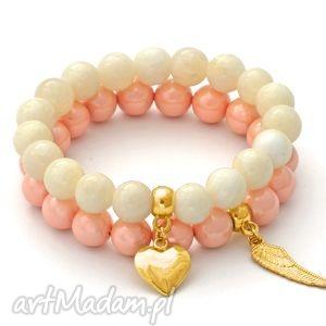 ecru jade & salmon pearl set with pendants - perła, majorka, jadeit