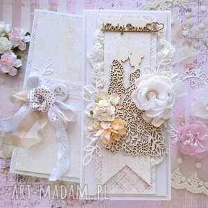 Kartka na ślub beżowa w pudełku scrapbooking kartki made by kate