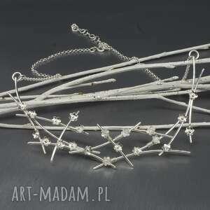 handmade naszyjniki kwiatowy srebrny naszyjnik elwenil