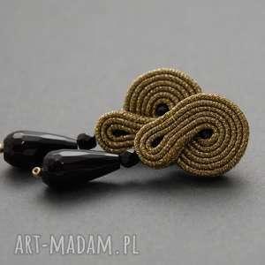 sisu złote kolczyki lub klipsy sutasz z onyksami, sznurek, eleganckie, wiszące