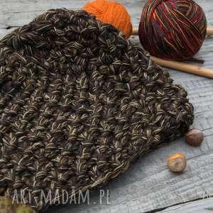 czapka handmade, czapka, wełna, zrobiona na drutach, melanż, ciepła czapki