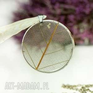 naszyjnik z prawdziwym liściem zatopionym w żywicy z1531, biżuteria