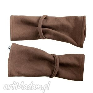 hand-made rękawiczki mitenki - brązowe