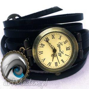 Niebieski ślimak - Zegarek / bransoletka na skórzanym pasku, ślimak, niebieski