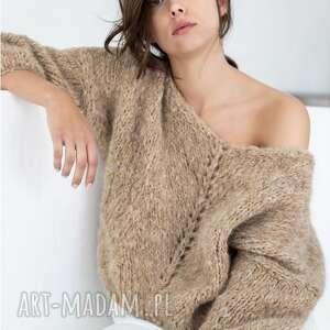 sweter hoonah, dziergany, ręcznie puszysty, luksusowy, prezent