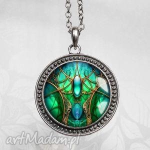szmaragdowa komnata cudny naszyjnik - długi, medalion, unikat, artystyczna, zielony