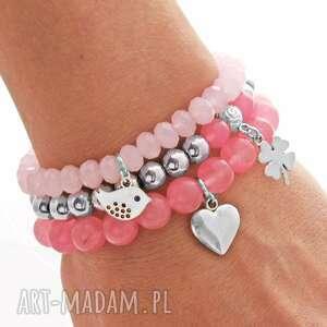 hematite pink jade & crystal set with pendants - kryształek, koniczynka