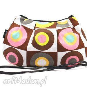 Mała marszczona torebka damska w kolorowe kółka na ramię