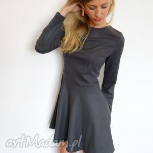 sukienki sukienka grafitowa wełniana z kieszeniami, sukienki, wełna, szara
