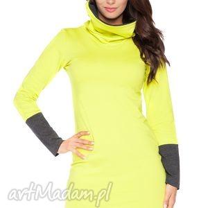 sukienka c_8 z kontrastowym kominem i mankietami - rawear, sportowa, dresowa, wygodna