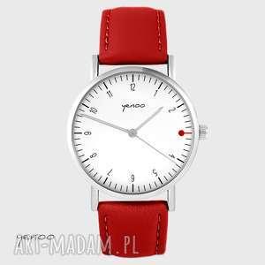 ręcznie wykonane zegarki zegarek - simple elegance, biały czerwony