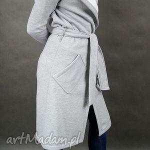 grey hood płaszcz - dresowy, kaptur, kieszenie, szary, wiązany