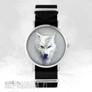 zegarek - biały wilk czarny, nato, unisex, zegarek, bransoletka