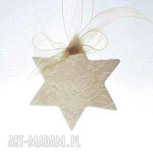 zawieszka porcelanowa gwiazdka - ozdoby choinkowe, święta, porcelana
