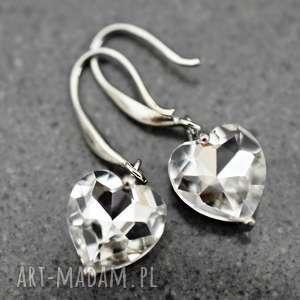 mini kryształowe serca posrebrzane kolczyki, serca, kryształy, błyszczące, seduszka
