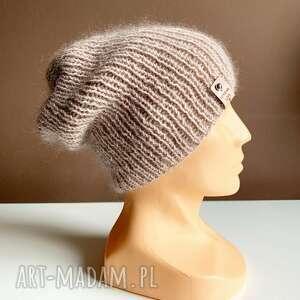ręcznie robiona czapka hand made ściągacz 100 baby merino plus moher i jedwab