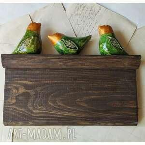 handmade ceramika ptaszki na drewnianej półeczce
