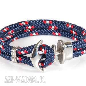 bransoletka męska lina żeglarska kotwica k4, lina, żeglarska, stal, szlachetna